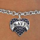 """NAVY"" Heart Charm Bracelet"