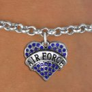 """AIR FORCE"" Heart Charm Bracelet"