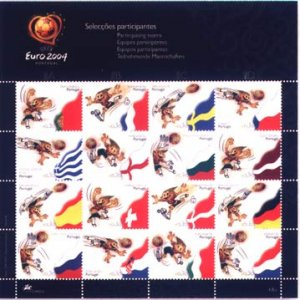Soccer Stamps Euro 2004 Portugal Football Teams Flags Mnh