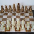 Mexican Onyx - Brown & White Chess Set (small) with Board