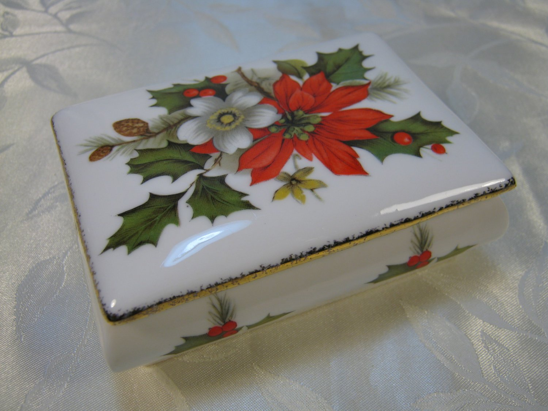Flambro Christmas Rose Trinket Box