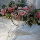 Clear Etched Footed Luncheon Plate
