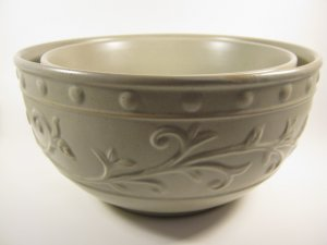 Set of Two Mixing Bowls Pottery Taupe