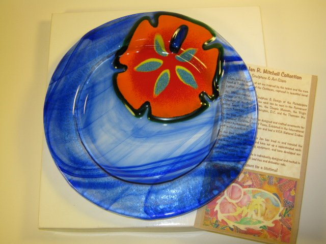 Jan Mitchell Fused Art Glass Plate Signed
