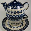 Polish Pottery Peacock Individual Teapot Cup Saucer