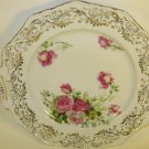Vintage Rose and Gold Gilded Cake Plate