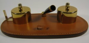 Leather Brass Desk Set Vintage