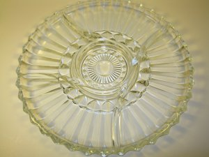 Glass 5 Part Relish Tray Vintage