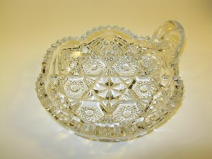Pressed Glass Nappy Candy Dish Vintage