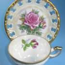 Lusterware Rose Tea Cup and Saucer Set Japan