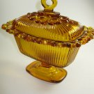 Indiana Glass Amber Candy Dish Lace Edge