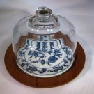 Blue Danube Blue Onion Cheese Plate Glass Dome
