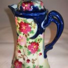 Vintage Chocolate Pot Cobalt Blue Floral