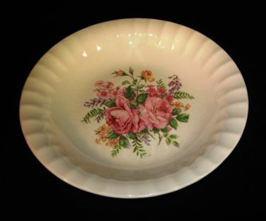 Vintage Rose Pattern Shallow Soup Bowl