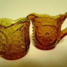 Amber Glass Hobstar Individual Creamer Sugar Set Vintage