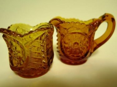 Amber Glass Hobstar Individual Creamer Sugar Set Vintage