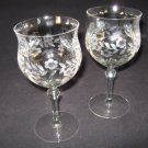 Vintage Wine Goblets Etched Two