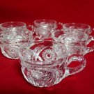 Vintage Pressed Glass Punch Cups Starburst Design Set of 6