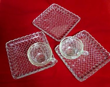 Indiana Glass Pretzel Snack Sets