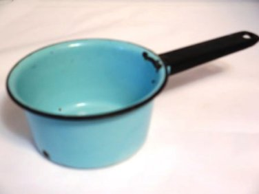 Vintage Enamel Ware Saucepan Blue with Black Trim