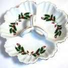 Holly Yuletide Japan 3 Part Ruffled Dish