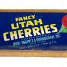 U Brand Fancy Utah Cherries Fruit Label Box End