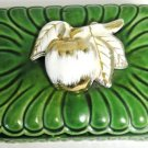 Vintage Ceramic Candy Dish Apple on Top