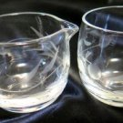 Childrens Etched Glass Creamer and Sugar Clear