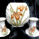 Bronze Iris Vase Candle Holder Set Fine China Japan