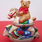 Christmas Bear Rocking Horse Trinket Box Ceramic