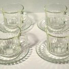 Forte Crisa Clear Ribbed Cups and Saucers Set of 4