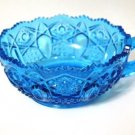 Kemple Glass Quintec Blue Pressed Glass Nappy Dish