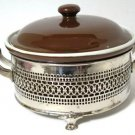 Brown Hall Casserole Dish and Lid Silver Footed Server