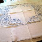 Vintage Embroidered Tablecloth Blue on White Gorgeous