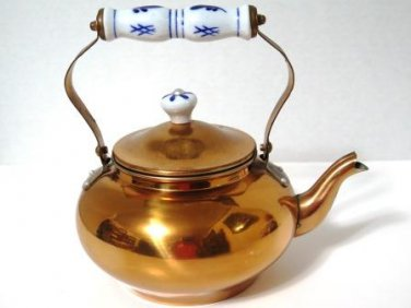 Copper Tea Kettle Delft Blue Porcelain Handle and Knob