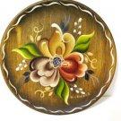 Norwegian Rosemaling Brown Plate Signed