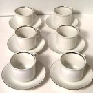 International Ironstone Silver Elegance Cups Saucers Set of 6