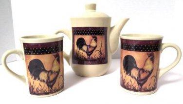 B.I. Inc Rooster Teapot Mug Set