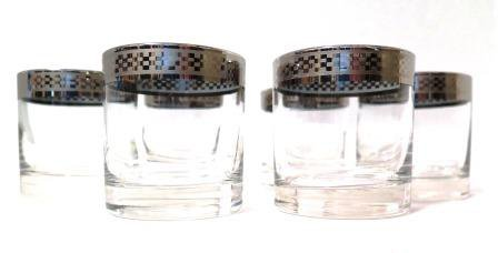 Platinum Rimmed 5 OZ Glasses Barware Set of 6