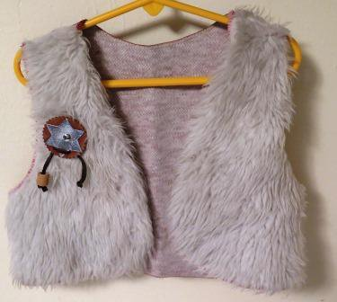 Vintage Faux Leather Cowboy Childs Vest Indian on Back