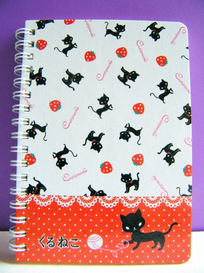Black Cat And Strawberry Hard Cover Notebook With Lines,Made In Korea