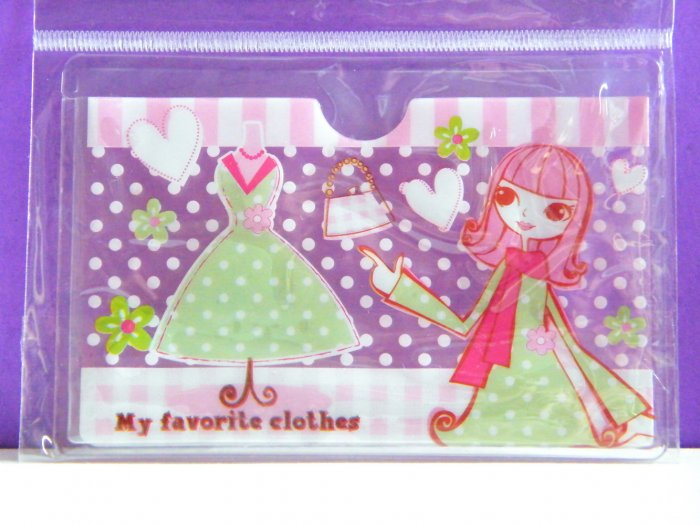 Korean Shopping Lady Skinny Double Pockets Clear Plastic Card Case