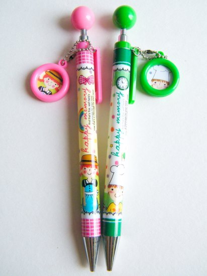 Korean Happy Memory Boy Girl Ballpoint Pens - Pink And Green (Set Of 2)