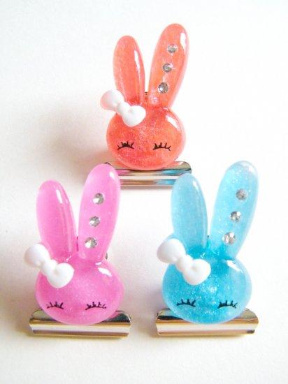Kawaii Resin Bunny Paper Notes Clips B (Set Of 3)