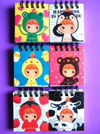 Banigirls Mini Spiral Memo Pad With Lines (Choose 1), Made In Korea
