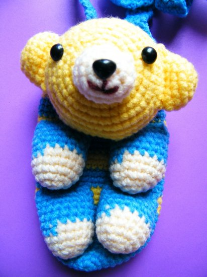 Kawaii Blue Teddy Bear Crochet Sling Bag
