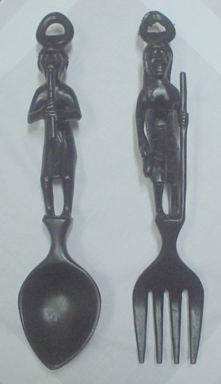 RARE BATIKULING WOOD CARVING | SPOON & FORK