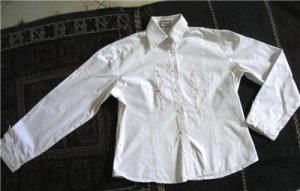 long sleeves women button front pink shirt blouse SZ s