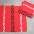 NWT 6 red napkins vintage floral embroidert doilies