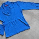 slinky women's blue shirt V neck blouse size 2
